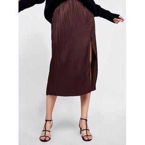 Zara Accordion Pleated Wine Midi Skirt